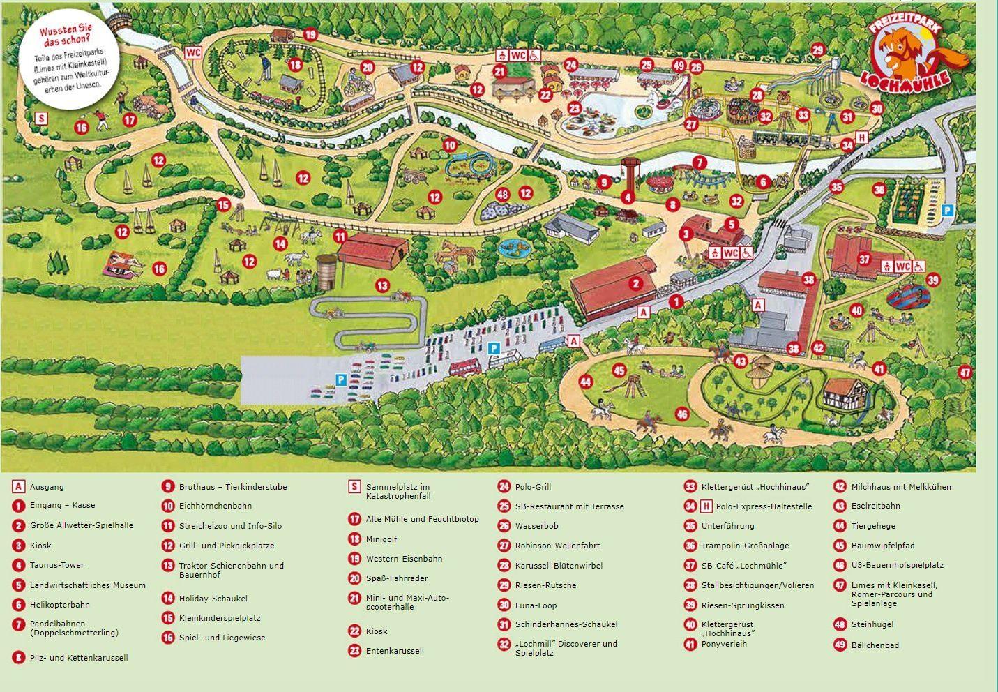 Parkplan Freizeitpark Lochmühle