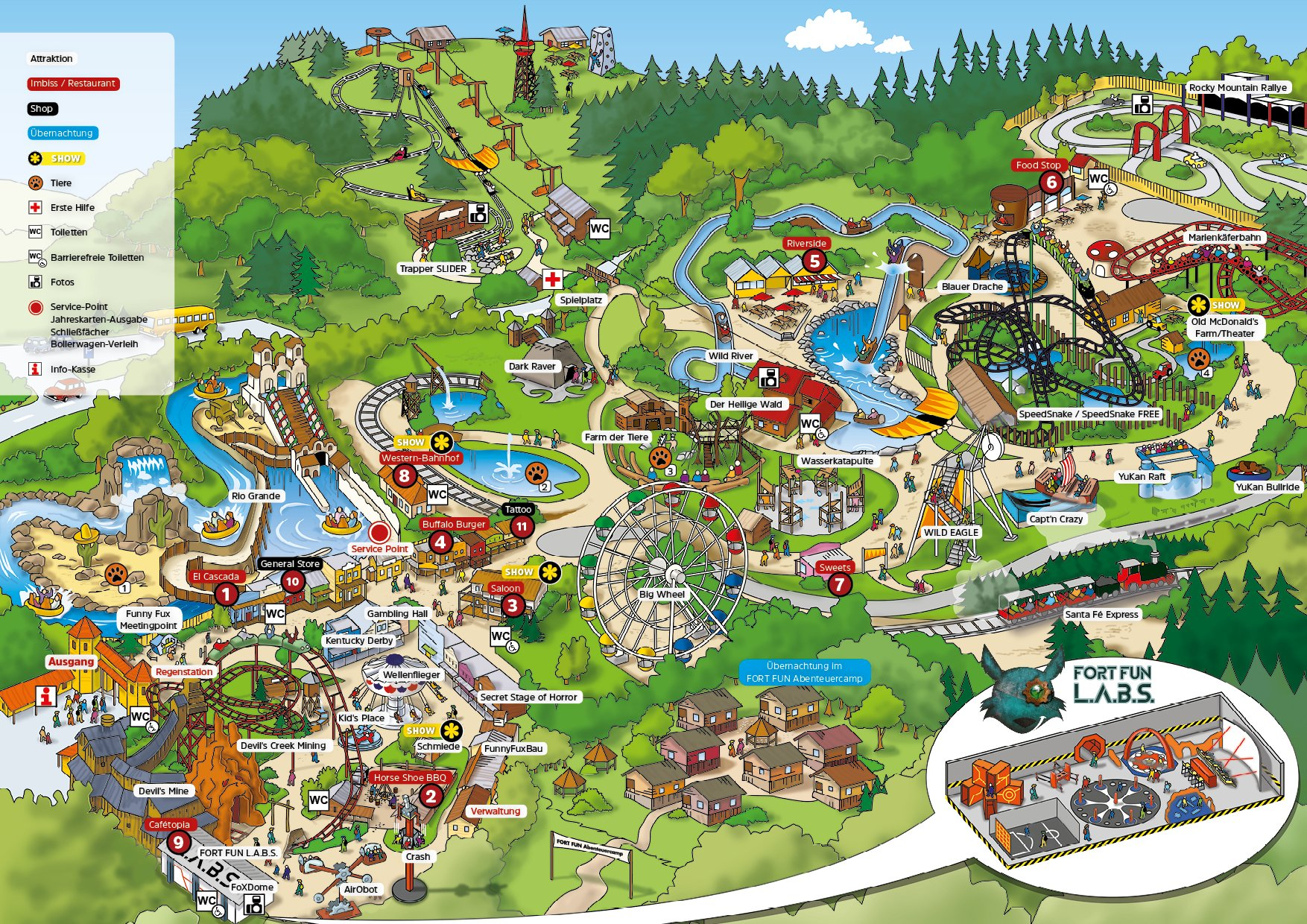 Parkplan FORT FUN Abenteuerland