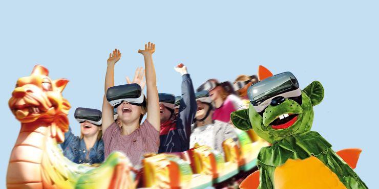 Foto: Erlebnispark Schloss Thurn, VR Brille, VR-Coaster Ride