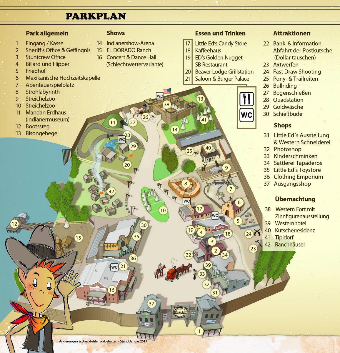 Parkplan El Dorado Templin – die Westernstadt