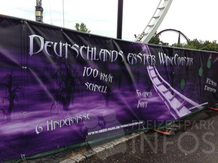 Foto: Freizeitparkinfos.de, Plakat Wing Coaster für 2014