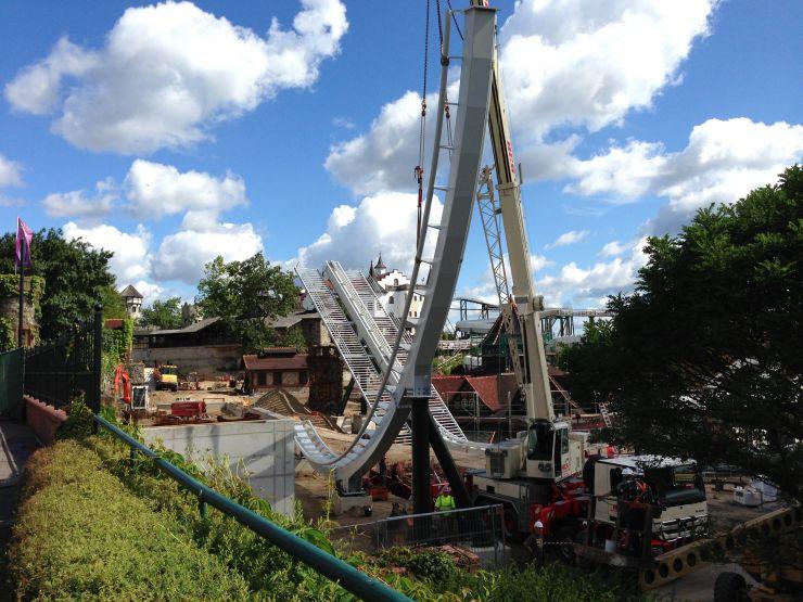 Foto: Robin Alexander, Bau der neuen Achterbahn 2014 im Heide Park
