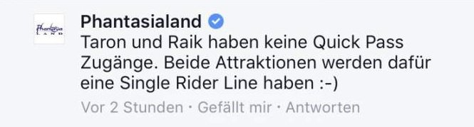 Foto: Facebook-Post Phantasialand