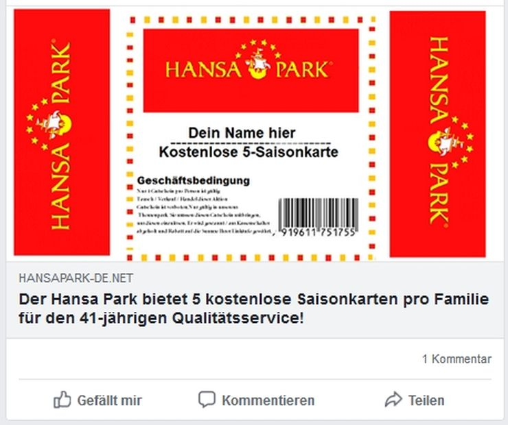 HANSA-PARK warnt vor Fake-Gewinnspiel auf Facebook