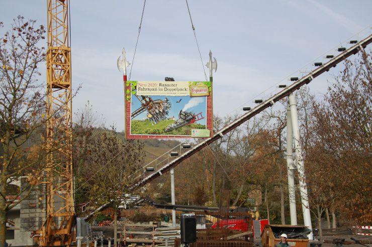 Achterbahn Baustelle im Erlebnispark Tripsdrill
